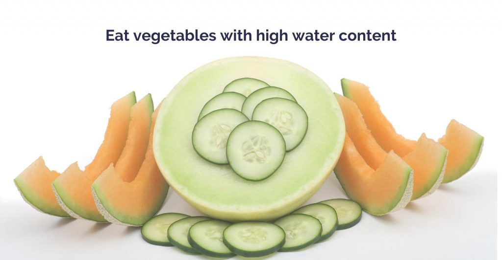 a sliced melons and cucumbers. Caption ' Eat vegetables with high water content'